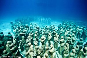 Over 400 life size figures on the ocean floor, 9m below the surface.